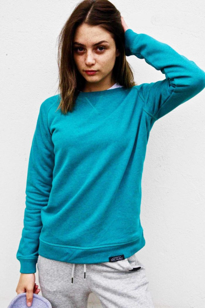pull femme turquoise