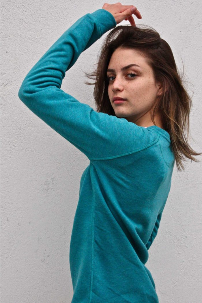 pull turquoise femme