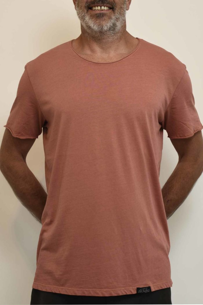 tee shirt rose saumon homme