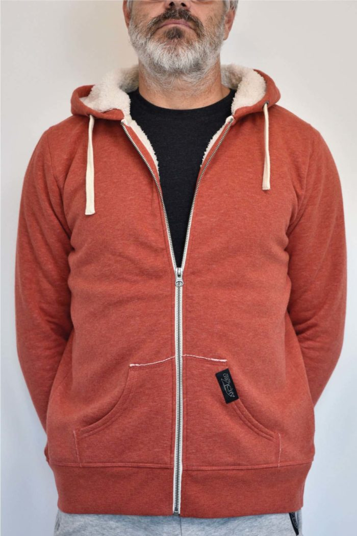 pull polaire homme orange