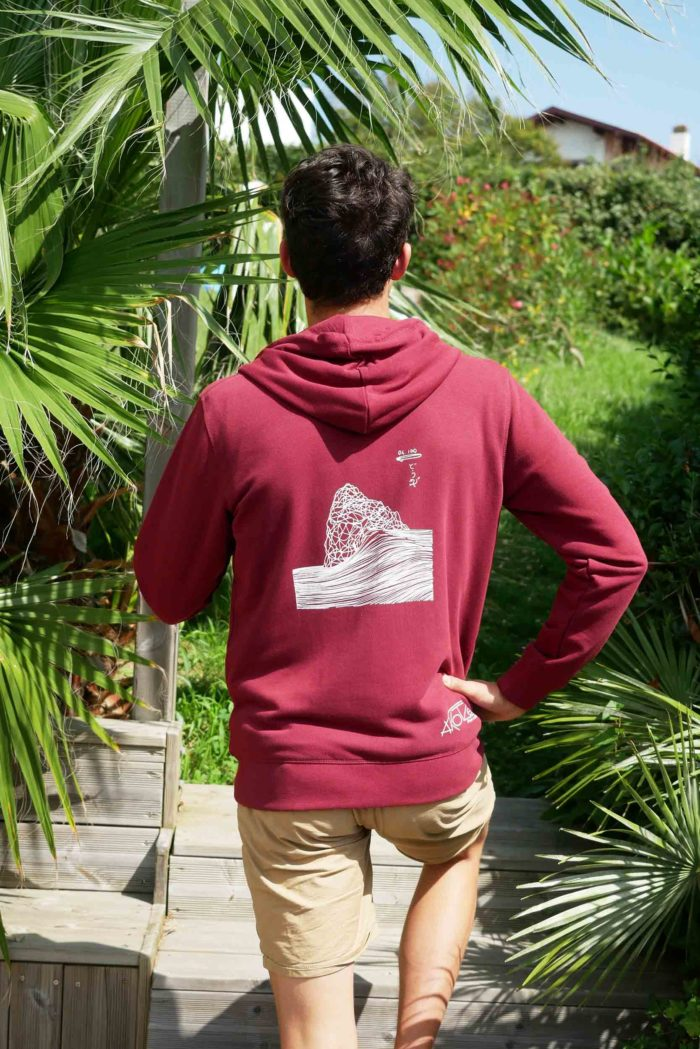 sweat capuche rouge homme