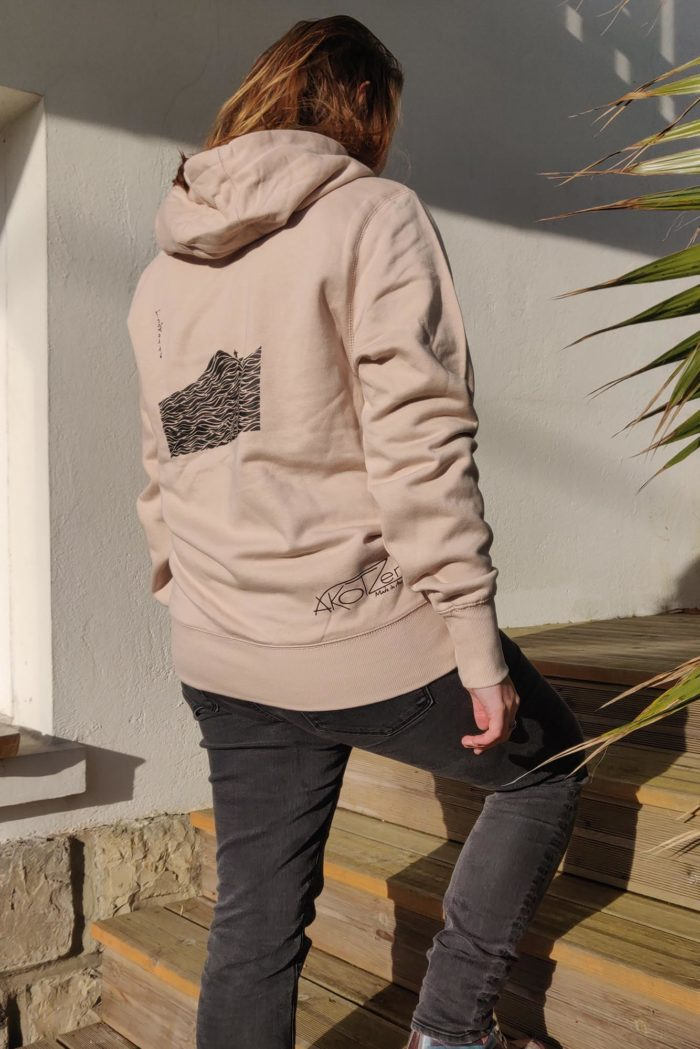 sweat capuche rose pâle