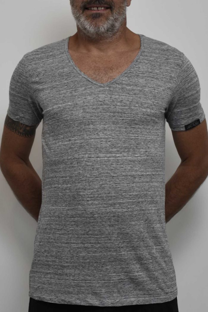 tee shirt col v gris homme